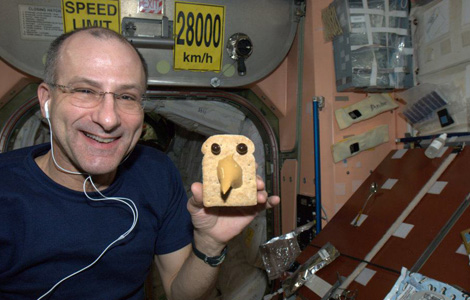 Astronaut Don Pettit having fun with food