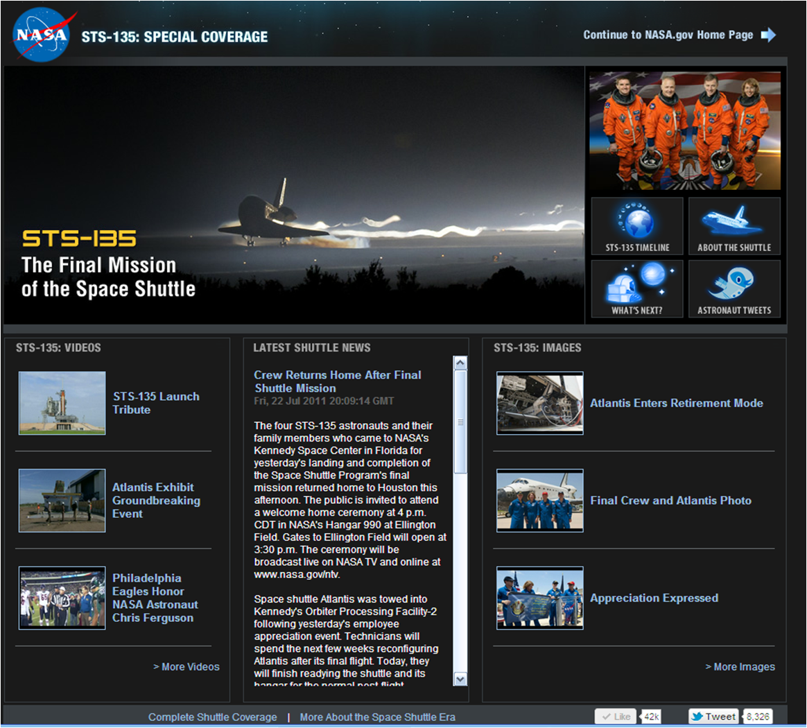 Shuttle page using data feeds
