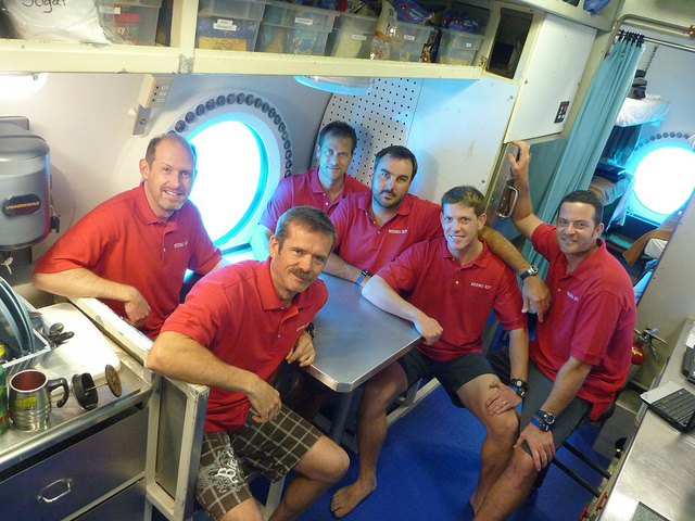 The crew of NEEMO 14 in the Aquarius habitat