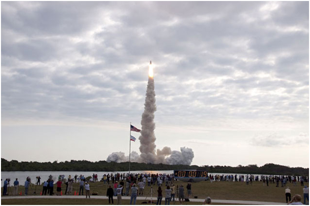 The launch of space shuttle Endeavour