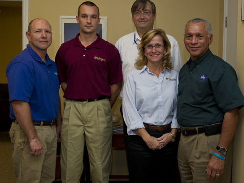 NASA Administrator Charlie Bolden (right) and the Kegman, Inc., team.