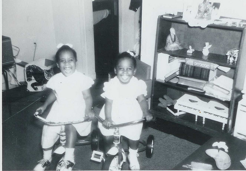 Linda Cureton (left) sitting on her flying machine with sister Loreen