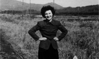 Beate Sirota Gordon in Japan in 1946. Image retrieved from the Asia Society, courtesy of the Gordon family