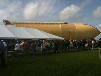 External tank departs assembly building at Michoud