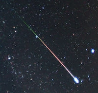 A Perseid meteor photographed in Aug. 2009 by Pete Lawrence of Selsey, UK