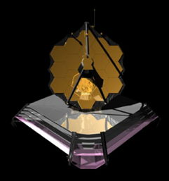 Artist Conception of the James Webb space telescope in space.