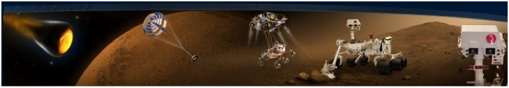 Artist conception of curiosity rover on Mars
