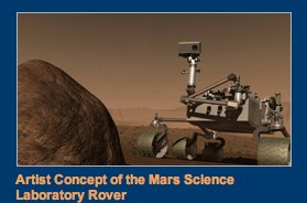Artist concept of the mars science laboratory rover on Mars