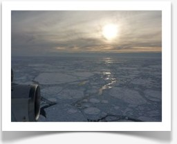 Sun setting over the Antarctic