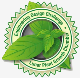 Basil leaves surrounded by Engineering Design Challenge logo
