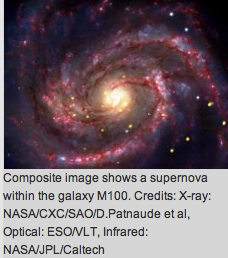 Composite image shows a supernova within galaxy M100