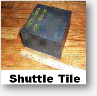 Photo of a Space Shuttle Tile and ruler, for scale.