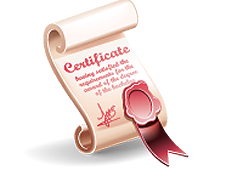 A computer graphic of a certificate with a red ribbon