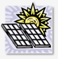 Cartoon drawing-sun and solar panels