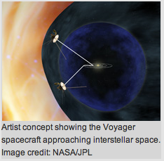 Artist concept showing Voyager spacecraft approaching interstellar space.