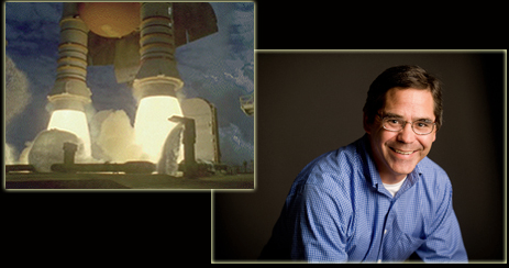 Collage of Sam Ortega photo and close-up of ignited solid rocket boosters