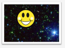 Smiley face against star field background