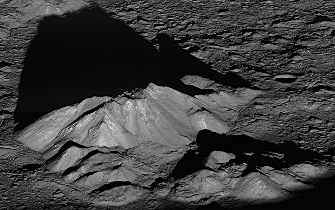 Tycho crater's central peak complex, shown here, is about 9.3 miles (15 km) wide, left to right (southeast to northwest in this view)