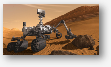 Artist concept of Curiosity rover on surface of Mars