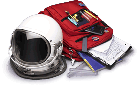 Space helmet and book bag.