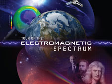 Front cover of Tour of the Electromagnetic Spectrum showing various planets and Isaac Newton, among others.