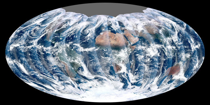 This image from November 24, 2011, is the first complete global image from VIIRS.