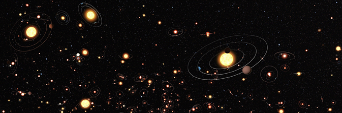 This artist's illustration gives an impression of how common planets are around the stars in the Milky Way galaxy.