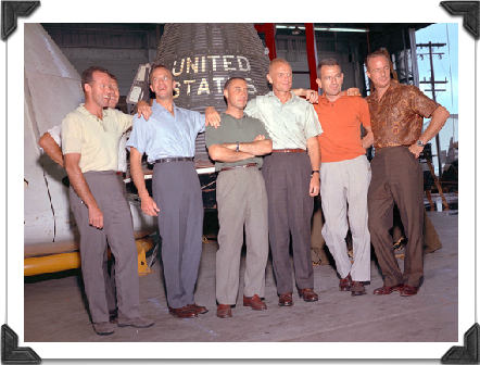 From left: Gordon Cooper, Wally Schirra (partially obscured), Alan Shepard, Gus Grissom, John Glenn,