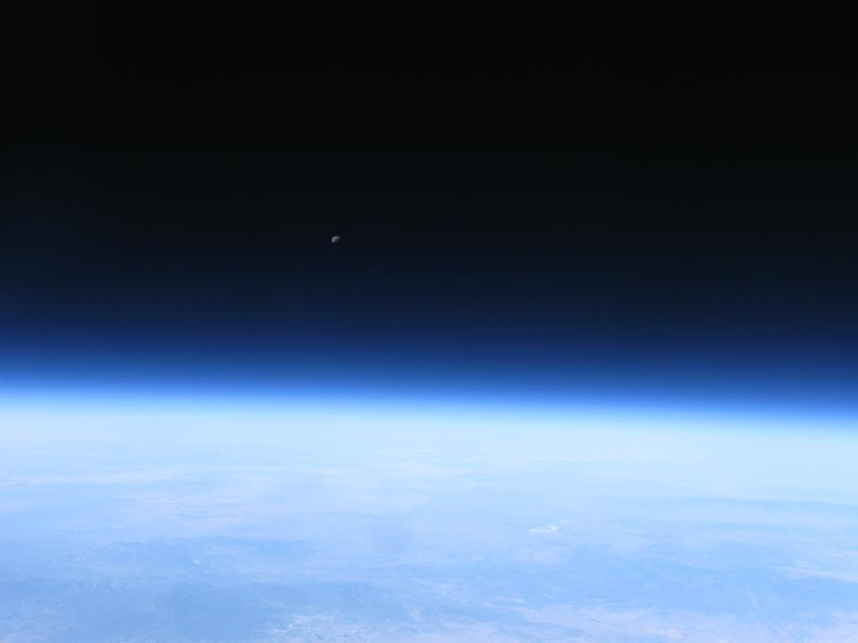 Photo showing curvature of Earth against the black of space as seen from the high-altitude balloon flight.