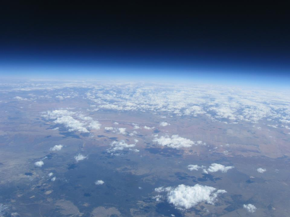 Photo showing curvature of Earth as seen from the high-altitude balloon flight.