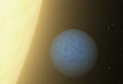 "artist's concept of 55 Cancri e, a toasty ""super-Earth"" that rushes around its star every 18 hours."