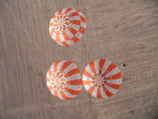 Test deployment of Orion's parachutes as seen from above