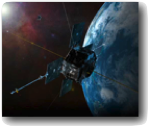 Artist concept: Radiation belt storm probe in orbit above Earth