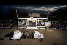 NASA float passes in front of the President's review stand. Jan 21, Washington, DC