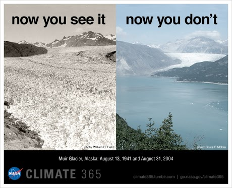 side-by-side comparison of Muir Glacier in 1941, on left, and in 2004, on right.