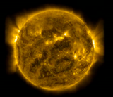 Solar Dynamics Observatory image of the sun based on a wavelength of 171 angstroms, which is in the extreme ultraviolet range