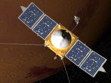 Artist concept of MAVEN spacecraft orbiting Mars