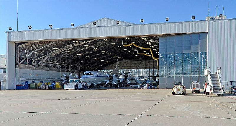 The P-3B aircraft inside the hangar at NASA's Wallops Flight Facility in Virginia.