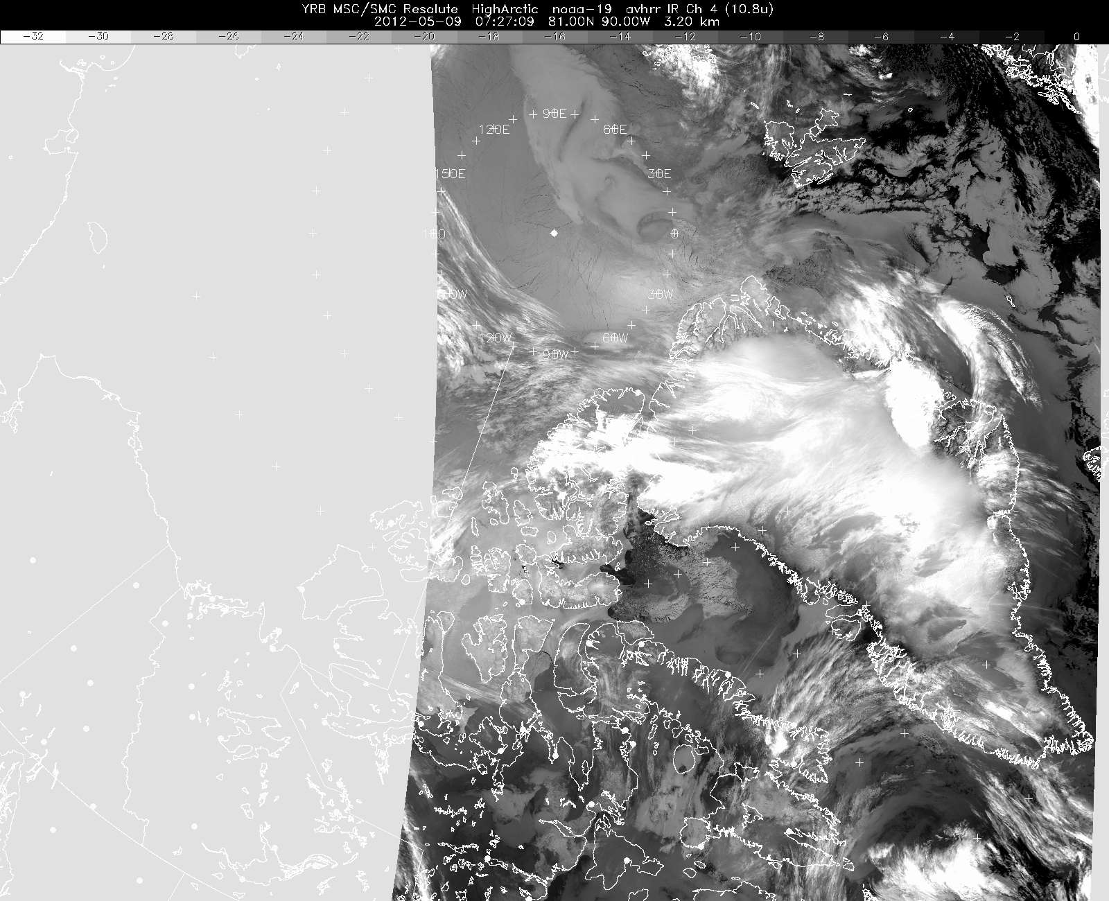 An early morning weather satellite image of Greenland and Arctic Canada, taken on 9 May 2012.