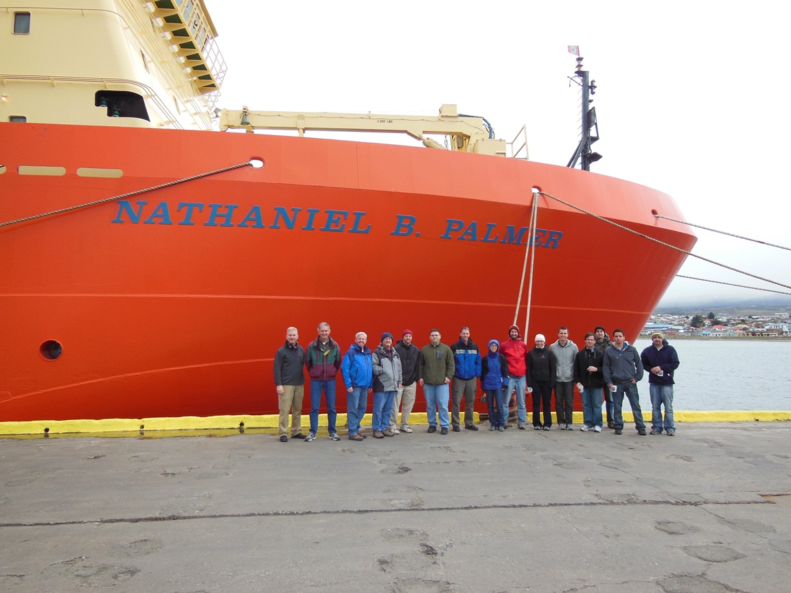 IceBridge personnel standing outside the Nathaniel B. Palmer