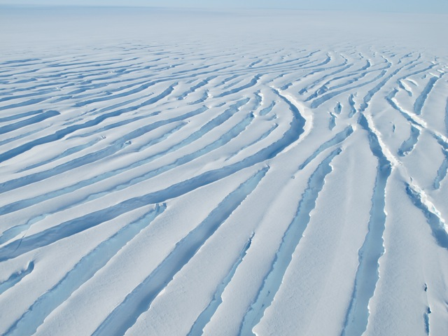 Crevasses in a glacier seen from the DC-8 near the Ronne Ice Shelf on Nov. 1.