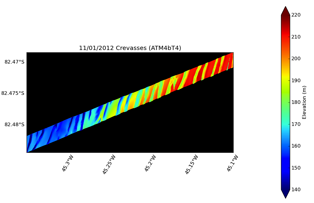 ATM data representation of the glacier crevasses seen on the Nov. 1, 2012 flight.