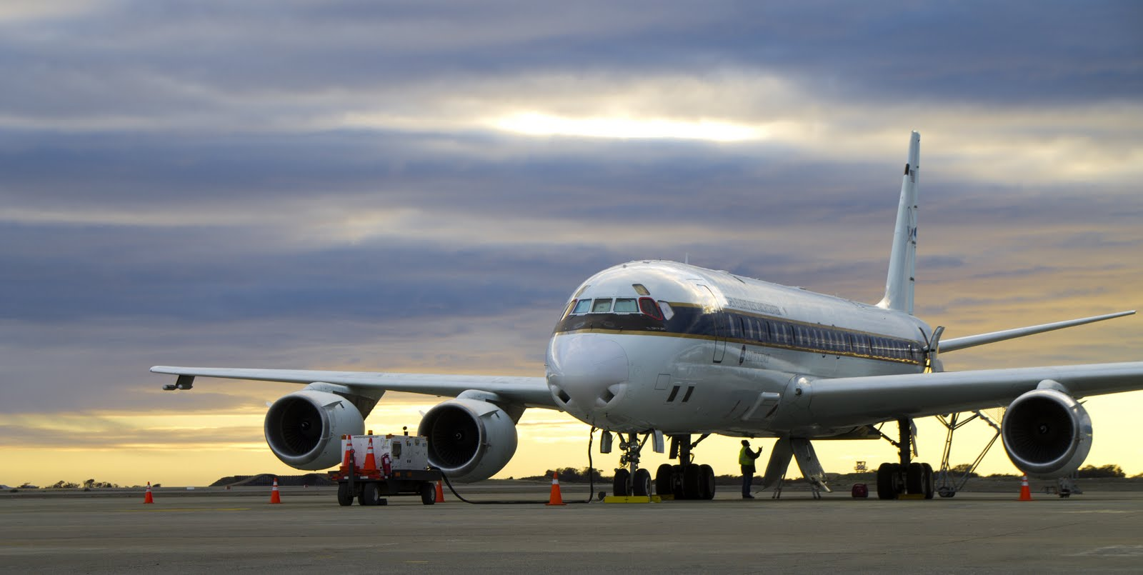 The IceBridge DC-8 undergoing final preparations for the first Antarctic campaign flight of 2012.