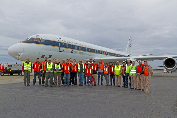 Group photo of IceBridge team in front of the NASA DC-8.