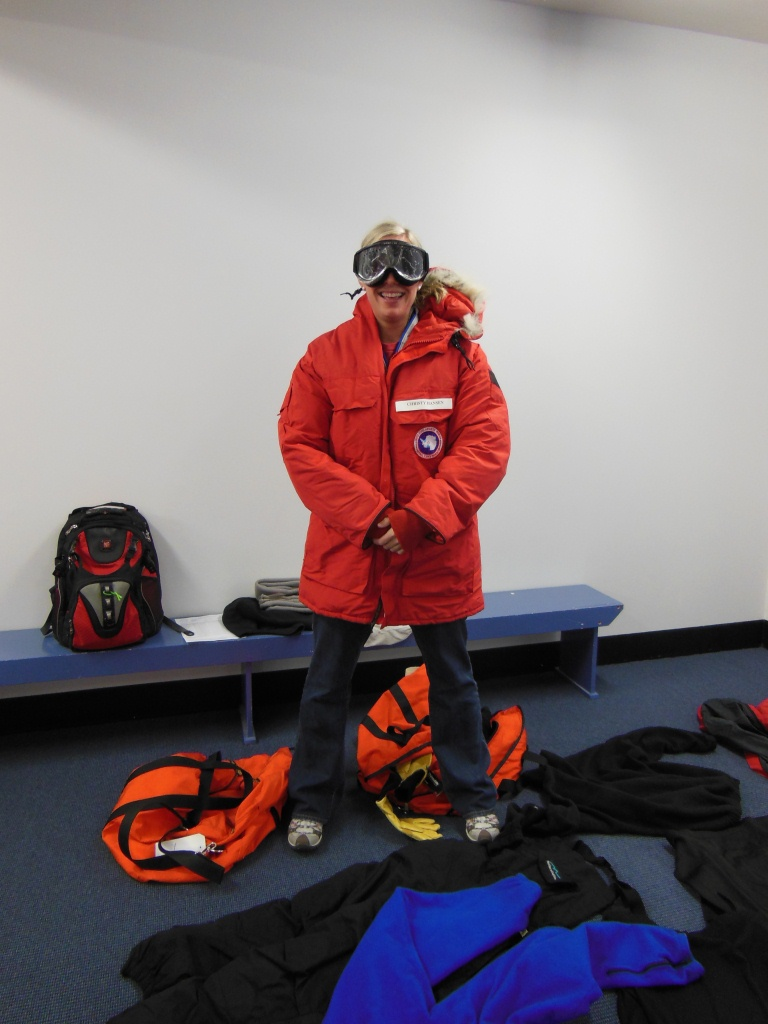 IceBridge project manager Christy Hansen wearing NSF-issued cold weather gear