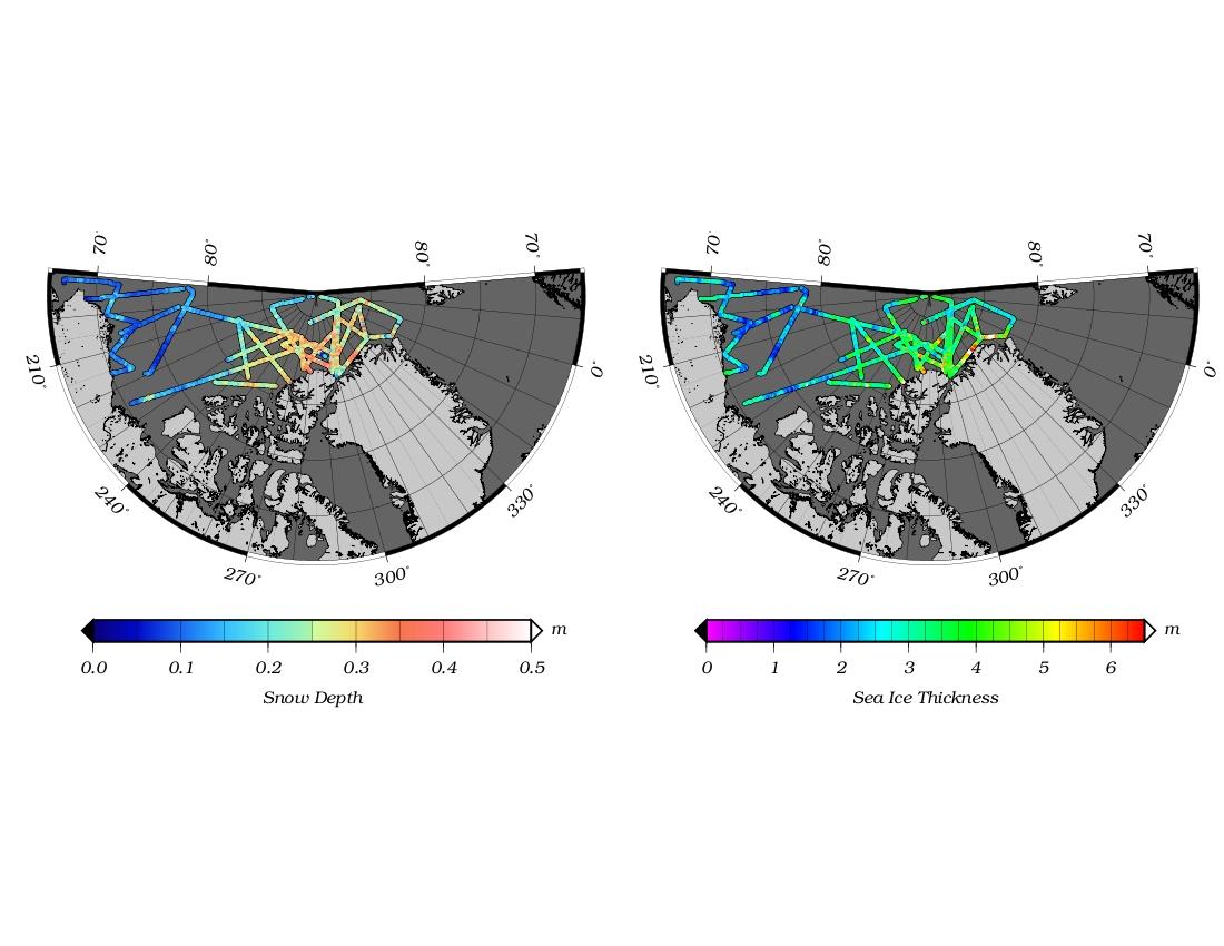 Maps of survey of Arctic sea ice