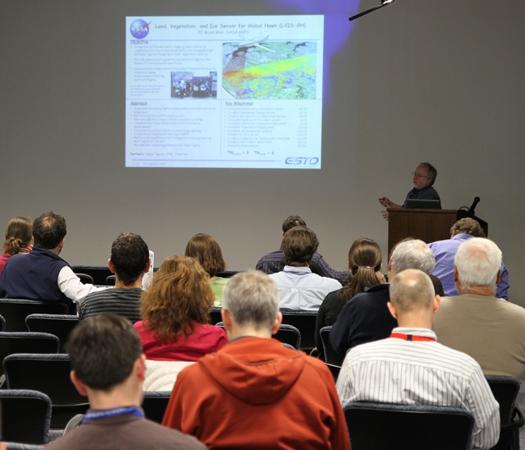 NASA scientist Bryan Blair gives a presentation on the future of the Land Vegetation and Ice Sensor (LVIS)