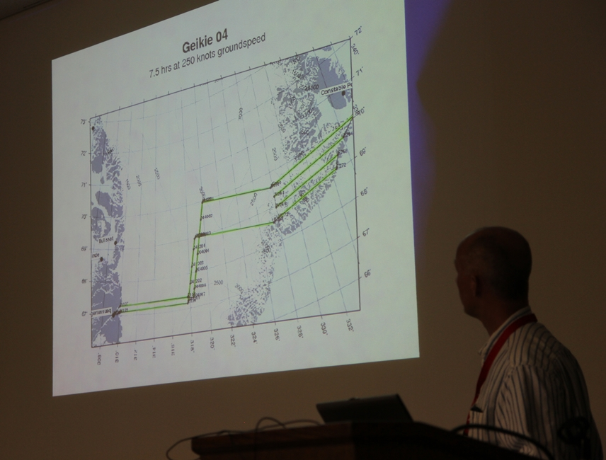 ATM senior scientist John Sonntag shows proposed flight plans for 2013 Arctic campaign.