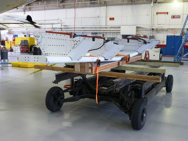The MCoRDS radar antenna on a cart prior to being attached to the underside of the P-3B.