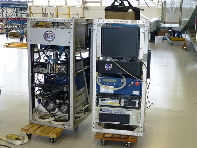 ATM equipment racks waiting to be installed in the P-3B.